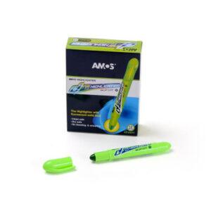 Текстмаркер Amos флюоресцентний сухий зелений  HLD12DGR