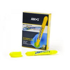 Текстмаркер Amos флюоресцентний сухий жовтий HLD12DYL