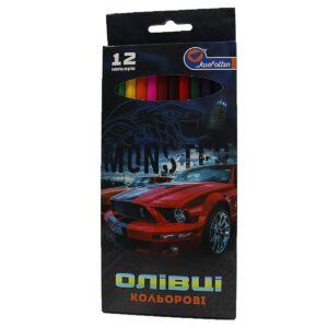 Олівці JO 12кол 7303-12  Mustang Grazy car  Footbal