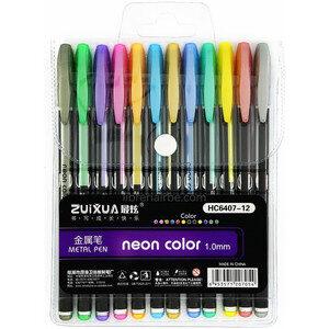 Набір гелевих ручок 6407-12 12кол  металік