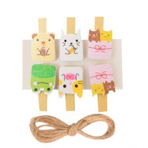 Набір прищепок деревяних Santi Cute animals 742499
