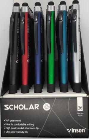 """Ручка автомат масл.Vinson """"Schoolar"""" синя 901, стилус, mix, 36шт"""