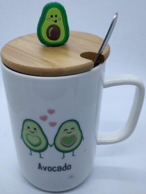 Чашка керамічна 8181 Авокадо з ложкою та бамбуковою кришкою