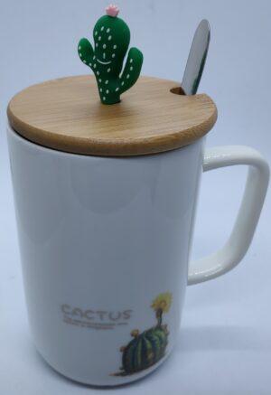 Чашка керамічна 6063-2 Кактус з ложкою та бамбуковою кришкою