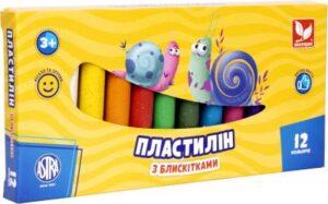 Пластилін Школярик 12кол восковий з блискітками 303107001