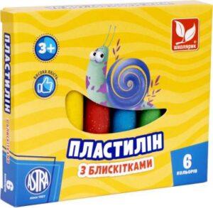 Пластилін Школярик 6кол восковий з блискітками 303109001
