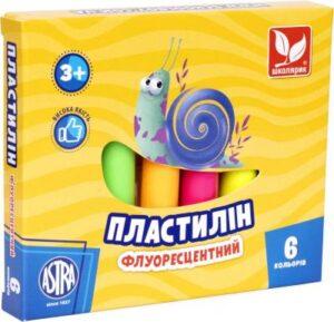 Пластилін Школярик 6кол флуоресцентний 83811906-UA