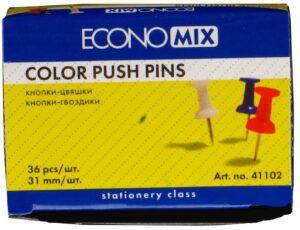 Кнопки цвяшки кольорові Economix 41102