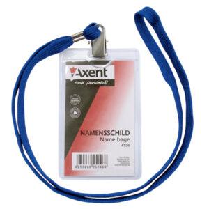 Бейдж пластиков Axent 4506 вертикальний на шнурку 50*85мм