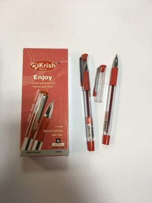 Ручка Krish Enjoy  масляна червона (12шт/уп)