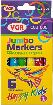 Фломастери джамбо 6кол VGR  CCB-006
