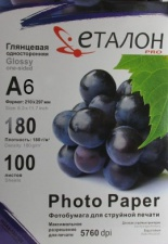 Глянцевий фотопапір Etalon 180г 100арк А6 Videx