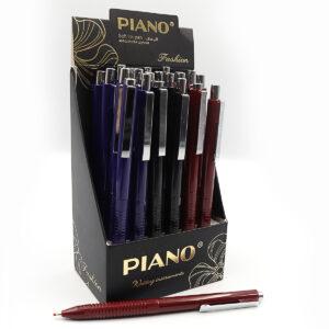 Ручка Piano PS-003 на кнопку мікс пише синім (24шт/уп)