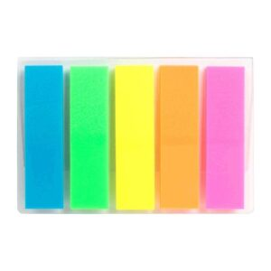 Закладка неонова 5 кольорів 12х45мм, 125 шт, прямокутна 2450-01