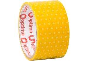 Скотч 30м 48 мм O45361 Optima, Dots жовтий