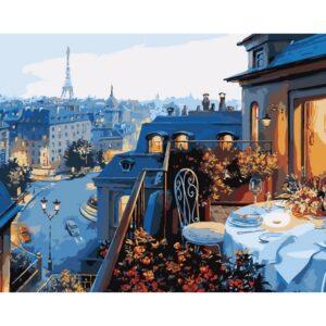 """Набір для розпису по номерах. """"Вид на Париж"""" 40*50см  КНО1107"""