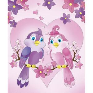 """Розпис по полотну """"Романтичні пташки"""" 25*30см 7158/2"""