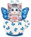 """Набір для творчості зі стразами на картоні 5D """"Кошенятко-метелик"""" 21*25 см (JA1138)188454"""